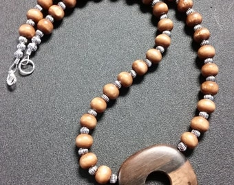 Olive wood bead necklace with wood pendent