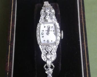 Vintage 1951 14k White Gold Diamond Women's Hamilton Watch Estate Vintage