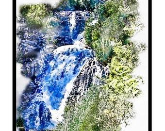 Steavensons Falls Portrait Watercolour - Canvas/Decal/Vinyl/Poster