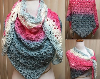 Pink and Blue Shell Stitch Crochet Shawl, Pink and Blue Crochet Shawl, Pink and Blue Crochet Wrap, Shell Stitch Wrap, Shell Stitch Shawl