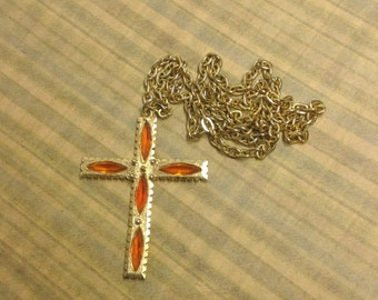 Vintage Gold toned religious cross necklace