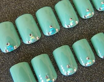 Turquoise Extra Short false Nails.