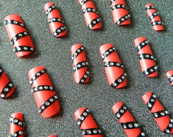 Matte Red and black Extra long Straight Square False Nails