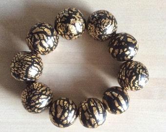 Polymer beads bracelet, gold bracelet, gold leaf bracelet, black bracelet, elastic bracelet, woman bracelet, woman's gift
