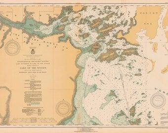 1930 Nautical Map of Lake of The Woods Minnesota