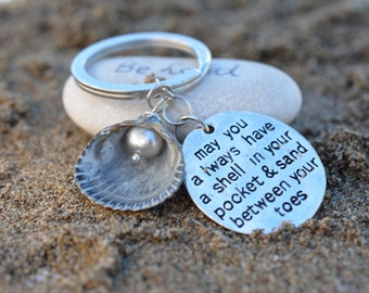Keyring with the shell and genuine pearl,keyring with a wish,sea and beach lover gift,gift for him,gift for her
