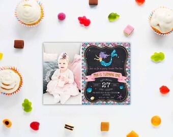 Glitter mermaid photo card_3,Mermaid Invitation, Mermaid invite, Mermaid Birthday, Printable Kids Birthday Invitation,MERMAID PARTY
