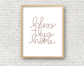 Bless This Home, Printable Quote, Home Decor, Instant Download, 8x10