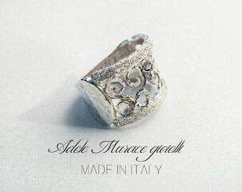 Headband ring with bushings and diamond * Silver 925 * maxi * Greek * slave * size 7