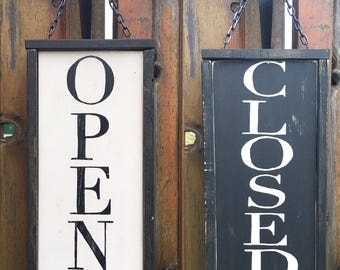 Reversible Open / Closed Rustic Wood Business Sign