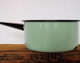 Vintage Chippy Mint Green Enamelware Sauce Pan