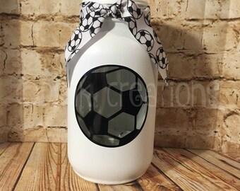 Soccer Ball Painted Mason Jar Tea Light Candle Holder, painted mason jar, Sports, tea light candle, candle holder, soccer ball, soccer