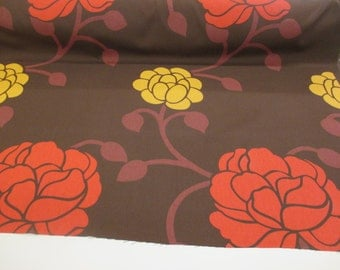 "Brown w Red & Yellow Large Roses ""Chelsea"" 100% Cotton Canvas Curtain Fabric."
