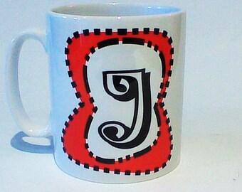 Monogram mug J free message on base by Tattoo Mug Dr Seuss inspired any letter you choose