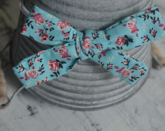 Blue Floral Tied Knot Hair Bow