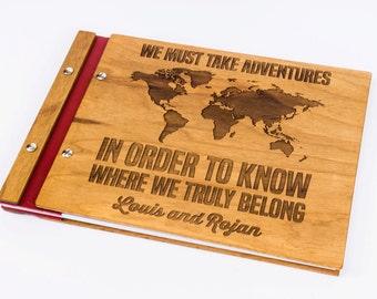 Travel photo album , Travel scrapbook album , Travel album ,  Wooden travel photobook, Personalized , Walnut