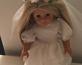 "18"" American Girl Wedding Dress and Floral Veil"