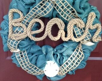 Beach Burlap Wreath-Turquoise Burlap Wreath-Burlap Wreath with Sand Dollar