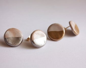 Studs with ceramic/stone Earrings ceramic lobe (made in italy)