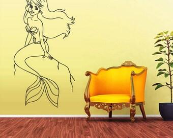rvz2043 Wall Vinyl Decal Sticker Bedroom Decal Sea Ocean Mermaid Girl Cartoon Nymph