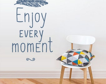 rvz2958 Wall Vinyl Decal Sticker Decal Words Sign Quote Enjoy Every Moment Feather