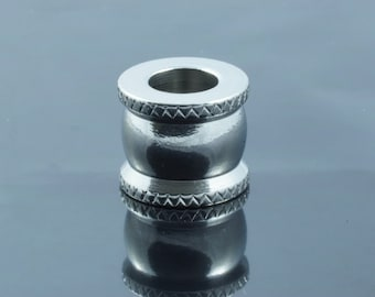 Stainless Steel Large Hole Column Beads. 10x12mm.  Hole 6mm