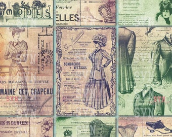 Vintage Fashion Background ATC - Victorian Style -  2 A4 of Printable ATC Cards Digital Collage Sheet