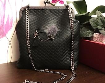 Black Crossbody Leather Clutch Bag