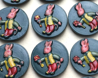 24 Dark Green Vintage Rabbit Proffering Flowers 2cm Buttons on Original Card