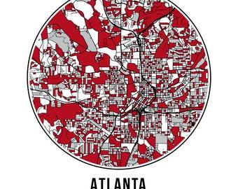 Atlanta Football - Community Color Map - Poster Print Wall Art- Neighborhood Fan
