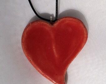Handmade stoneware heart necklace. J-47