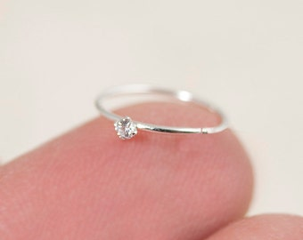 Tiny Nose Hoop, Silver Nose Hoop, Tiny Nose Ring, Tiny Nose Ring, CZ Nose Hoop, Small Nose Hoop, Small CZ Nose Hoop, CZ Nose Ring,
