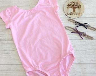 Ballet Pink Cotton Lycra Leotard