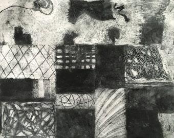 Abstract Tonal Collagraph print