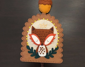 Felt Autumn Fox Keychain Holder