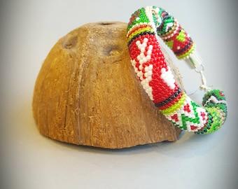 Handmade bracelet, bead bracelet,  crochet bracelet,  Christmas bracelet, Deer bracelet, Gift for her