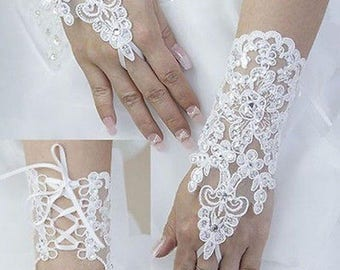 Bridal Wedding Ivory or White Lace Fingerless Gloves Custom Colors Crystals Now On Sale