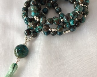 Mala from Chrysocolla, decorated with silver end Pearl of Chrysocolla with tassel,