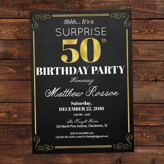 Surprise Birthday Invitation 50th Birthday By