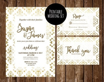 Gold wedding invitation, Printable Wedding Invitation, wedding invitation, template, RSVP, thank you, gold and white wedding invitations