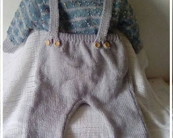Hand Knitted Baby boy's Dungarees, Jumper and Boots set in blue mixture and silver grey