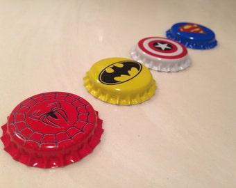 Superhero Marvel / DC Bottlecaps - Spiderman Superman Batman Captain America
