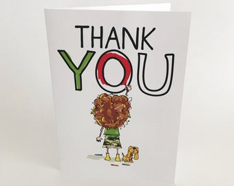 THANK YOU Greeting Cards, Set of 5, Colour, Blank Inside