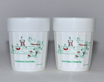 Vintage The Original Graffi Cup, Seven Swans A- Swimming, Pair