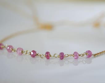 Fine necklace with raspberry pink Sapphire faceted Rondelle necklace 925 gold plated