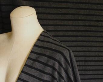 Stripe Cotton Bamboo Jersey Knit Fabric By 1/4 Metre, Charcoal Black Soft Stretch Fabric, Bamboo Fabric, Knit Jersey Fabric for drapey dress