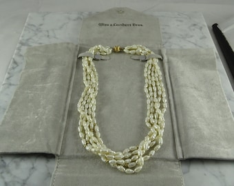 """Rice Pearls / 14K Gold Beads and Clasp (16"""")"""