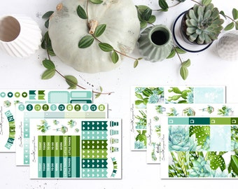 Succulent || Weekly Planner Kit (140 Planner Stickers) || Erin Condren, Happy Planner, Recollections, No White Space || SeattleKangarooPlans