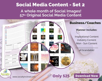 Social Media Images - Content General Business & Coaches (SET 2) -- 57+ original images, blank planner pages, checklists, tasks, and goals