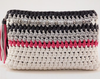 Crochet Clutch, Multi Colour Purse, Embellished Clutch, Handmade Fabric Bag, Trendy Clutch Purse, T Shirt Yarn Clutch, Gift for Her